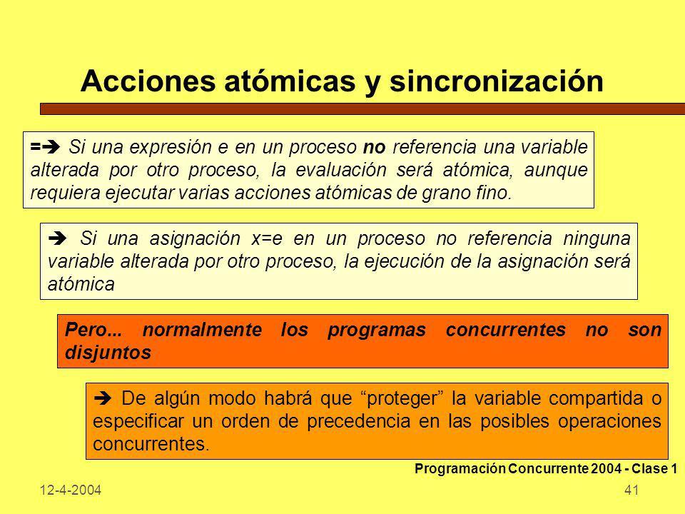 12-4-200441 Acciones atómicas y sincronización = Si una expresión e en un proceso no referencia una variable alterada por otro proceso, la evaluación