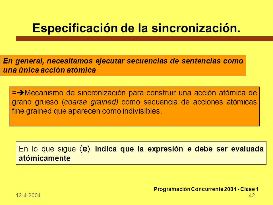 12-4-200442 Especificación de la sincronización. En general, necesitamos ejecutar secuencias de sentencias como una única acción atómica = Mecanismo d