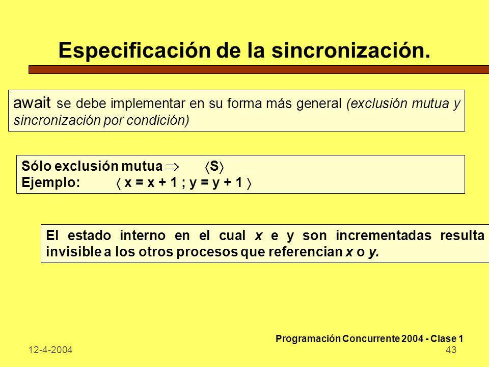 12-4-200443 Especificación de la sincronización. await se debe implementar en su forma más general (exclusión mutua y sincronización por condición) Só
