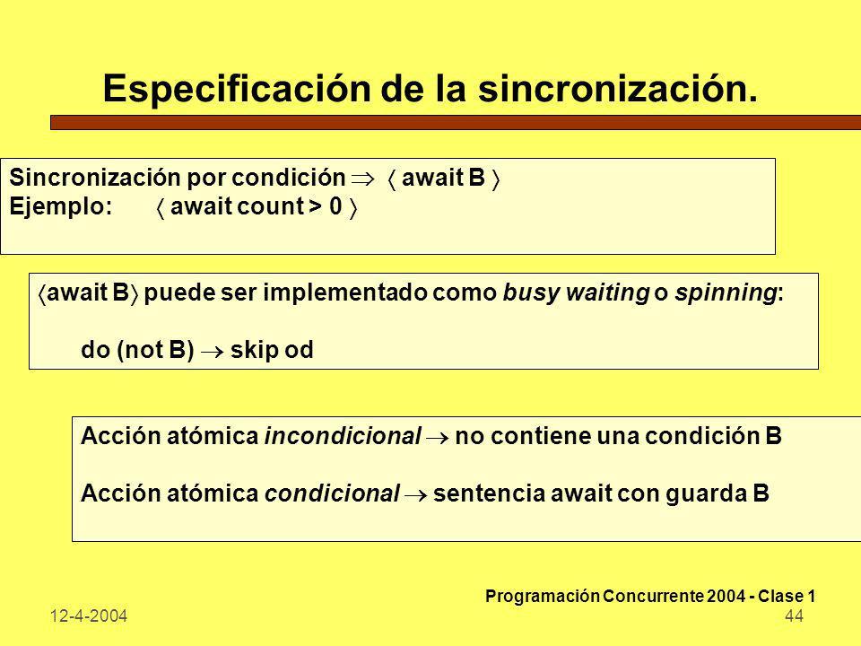 12-4-200444 Especificación de la sincronización. Sincronización por condición await B Ejemplo: await count > 0 await B puede ser implementado como bus