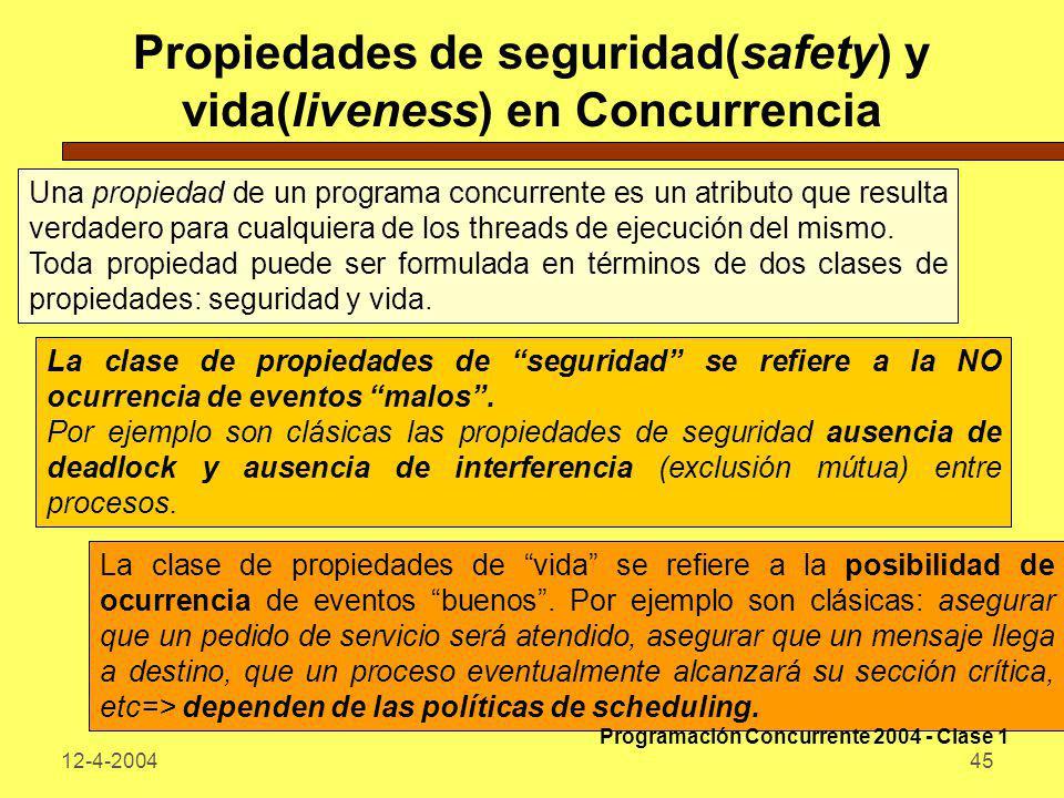 12-4-200445 Propiedades de seguridad(safety) y vida(liveness) en Concurrencia Una propiedad de un programa concurrente es un atributo que resulta verd