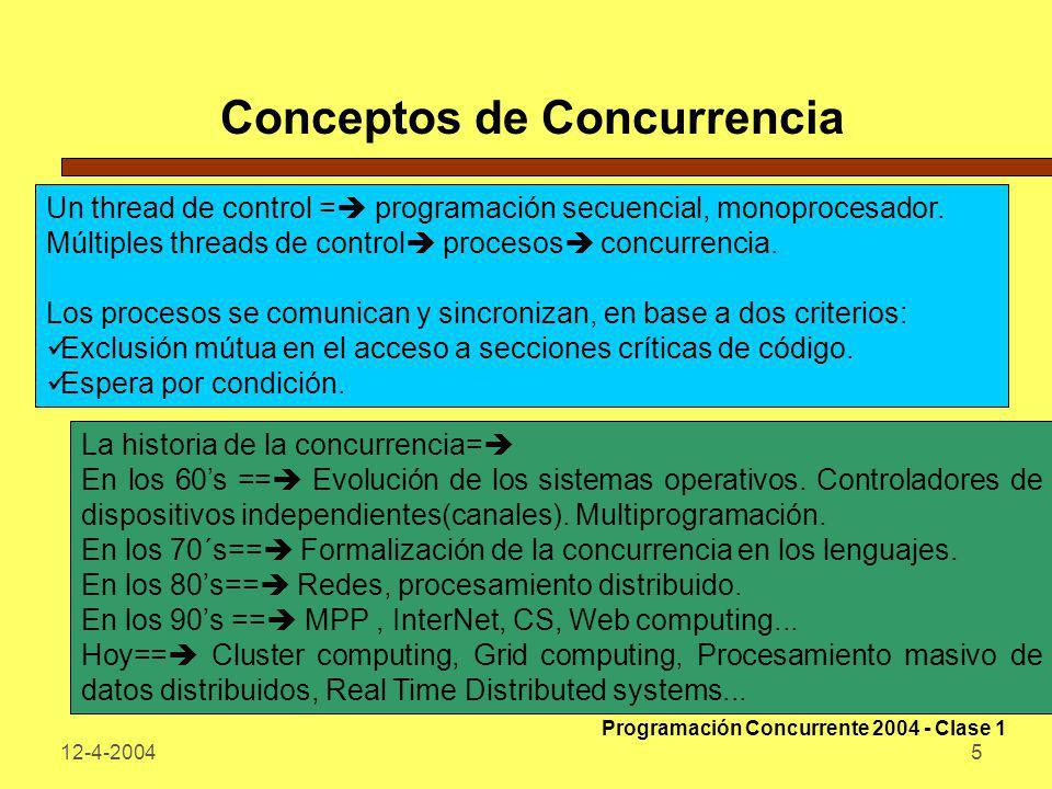 12-4-200416 Programa Concurrente Un programa concurrente especifica dos o más programas secuenciales que pueden ejecutarse concurrentemente en el tiempo como tareas o procesos.