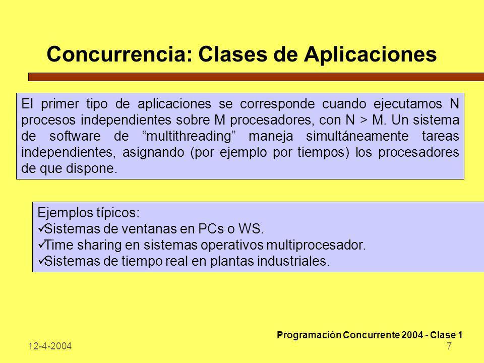 12-4-20048 Concurrencia: Clases de Aplicaciones El segundo tipo de aplicaciones es el cómputo distribuido: una red de comunicaciones vincula procesadores diferentes sobre los que se ejecutan procesos que se comunican esencialmente por mensajes.