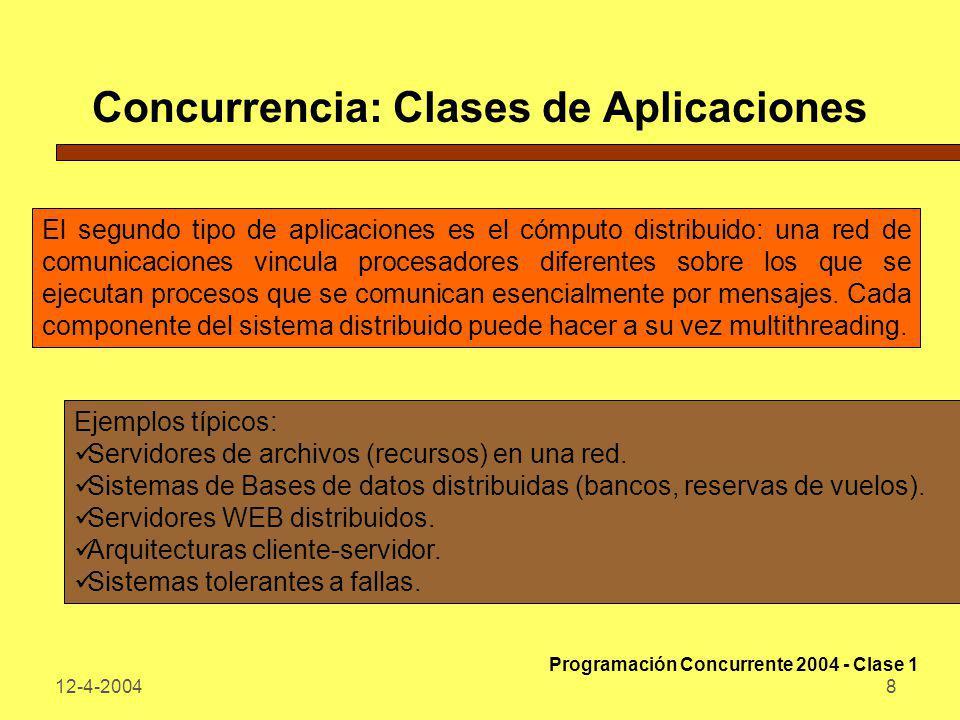 12-4-20048 Concurrencia: Clases de Aplicaciones El segundo tipo de aplicaciones es el cómputo distribuido: una red de comunicaciones vincula procesado