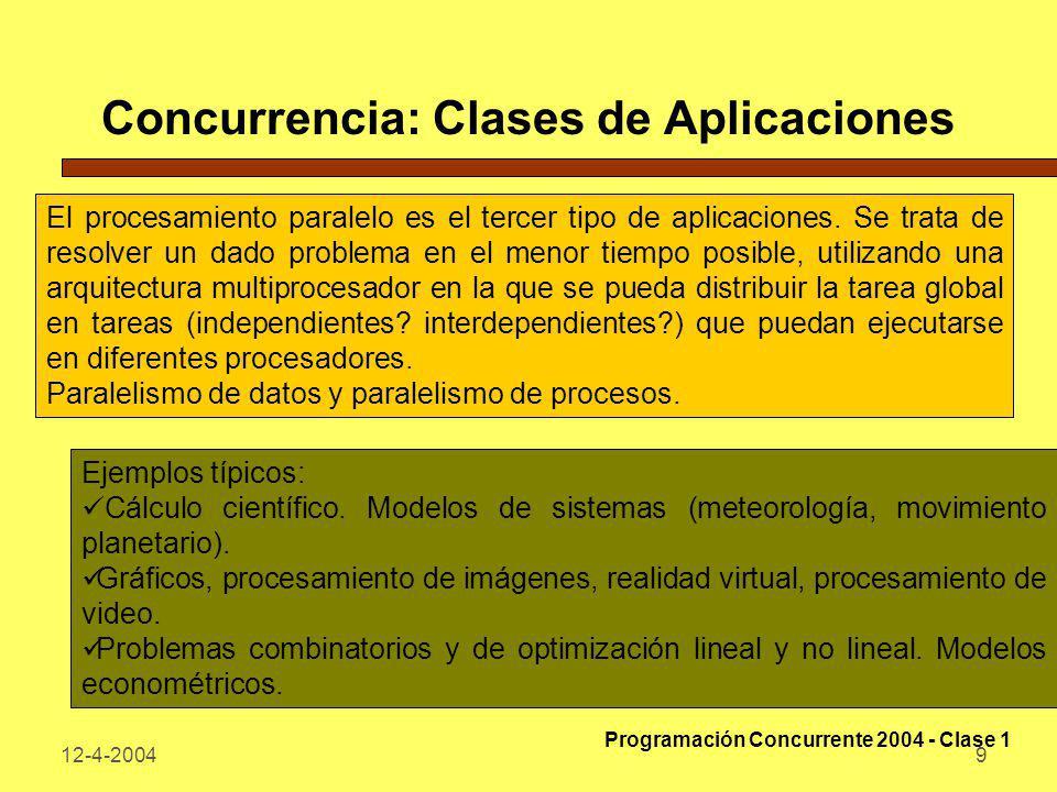 12-4-20049 Concurrencia: Clases de Aplicaciones El procesamiento paralelo es el tercer tipo de aplicaciones. Se trata de resolver un dado problema en