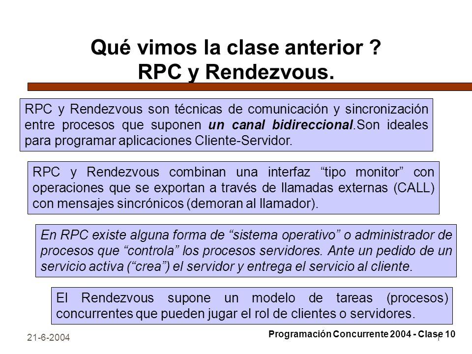 21-6-20041 Qué vimos la clase anterior ? RPC y Rendezvous. RPC y Rendezvous son técnicas de comunicación y sincronización entre procesos que suponen u