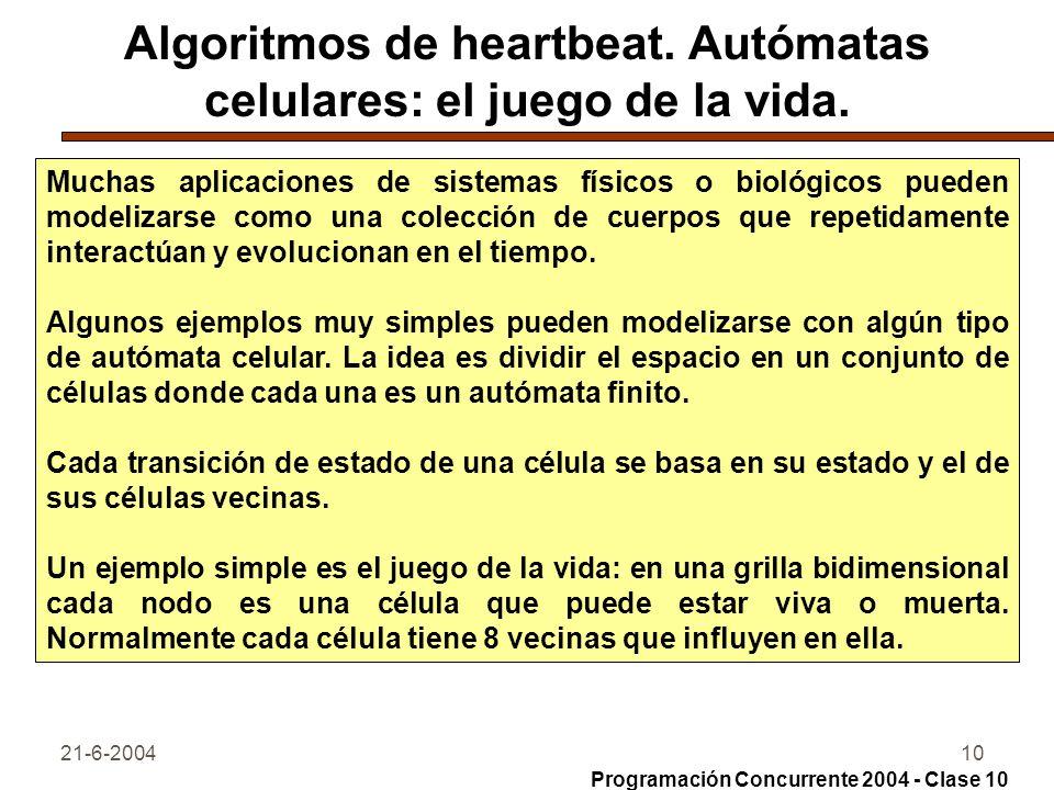 21-6-200410 Algoritmos de heartbeat. Autómatas celulares: el juego de la vida. Muchas aplicaciones de sistemas físicos o biológicos pueden modelizarse