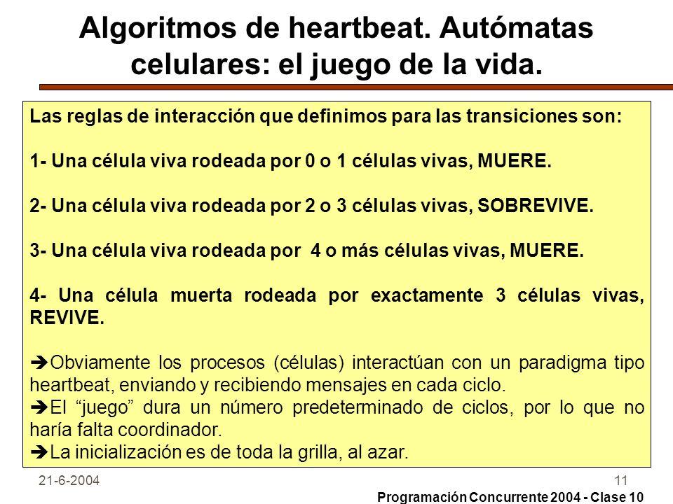 21-6-200411 Algoritmos de heartbeat. Autómatas celulares: el juego de la vida. Las reglas de interacción que definimos para las transiciones son: 1- U