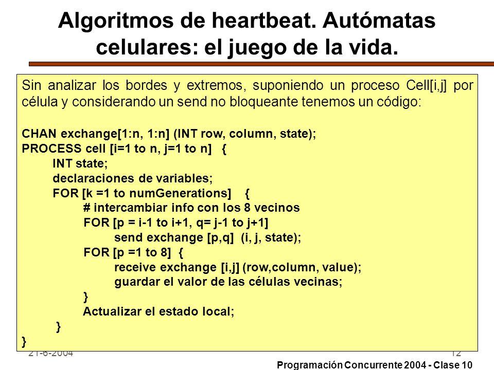 21-6-200412 Algoritmos de heartbeat. Autómatas celulares: el juego de la vida. Sin analizar los bordes y extremos, suponiendo un proceso Cell[i,j] por