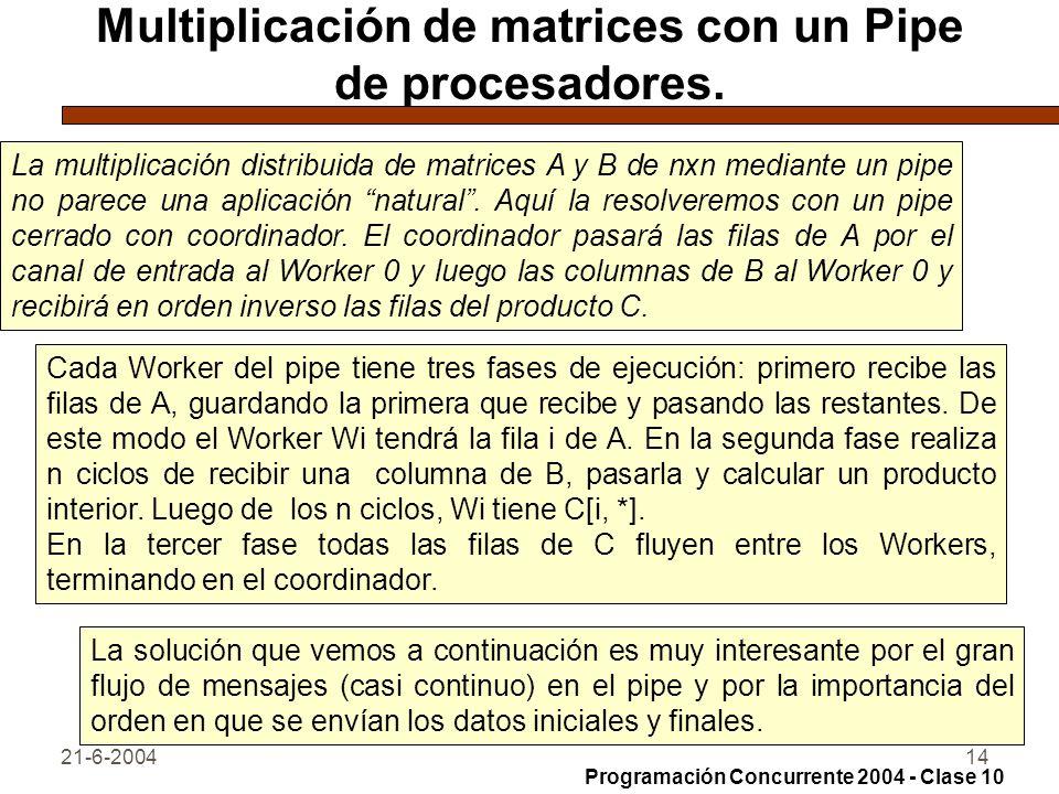21-6-200414 Multiplicación de matrices con un Pipe de procesadores. La multiplicación distribuida de matrices A y B de nxn mediante un pipe no parece