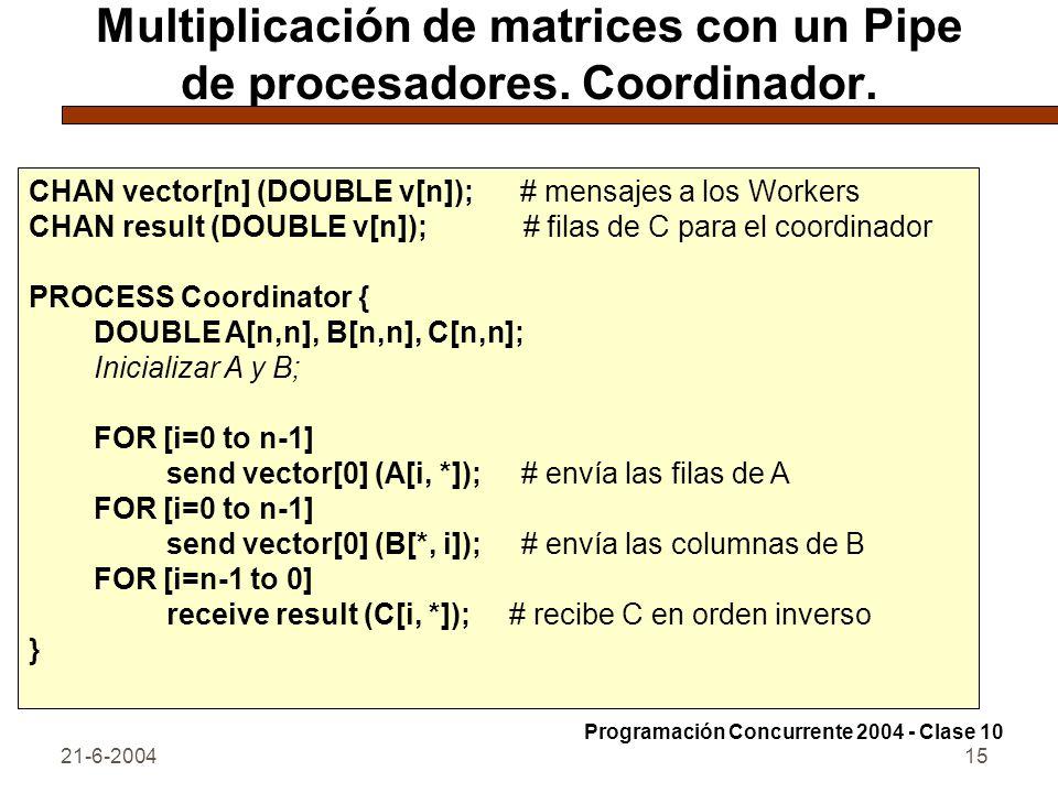 21-6-200415 Multiplicación de matrices con un Pipe de procesadores. Coordinador. CHAN vector[n] (DOUBLE v[n]); # mensajes a los Workers CHAN result (D