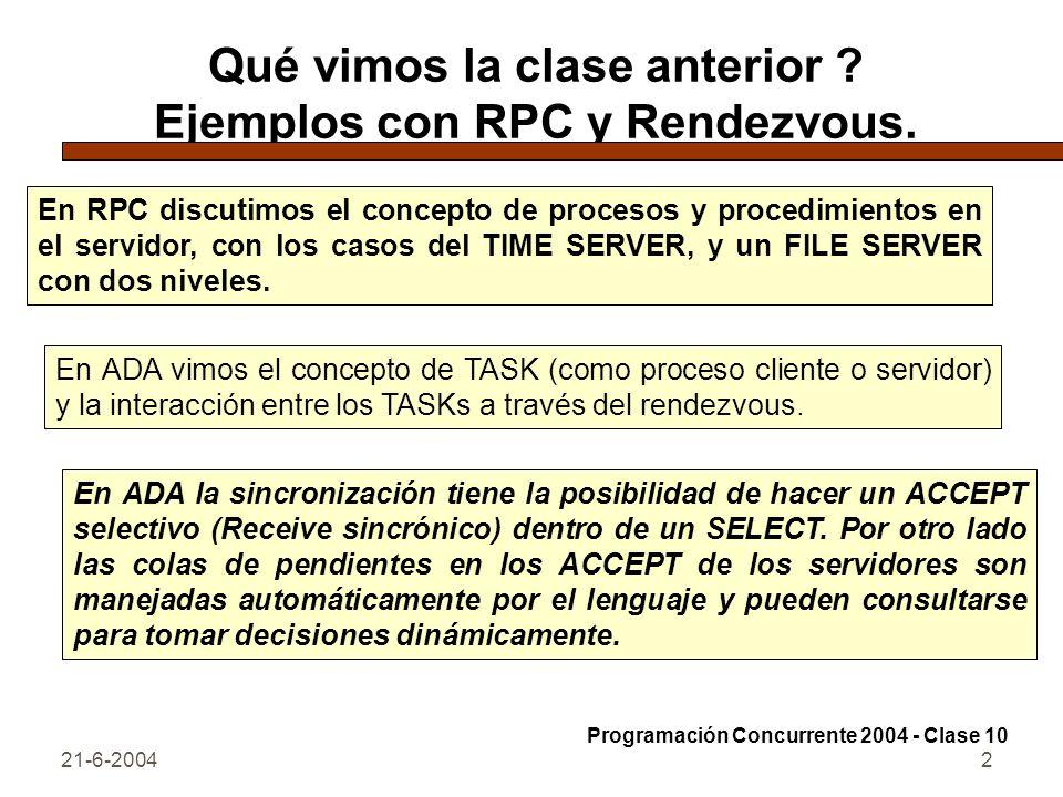 21-6-20042 Qué vimos la clase anterior ? Ejemplos con RPC y Rendezvous. En RPC discutimos el concepto de procesos y procedimientos en el servidor, con