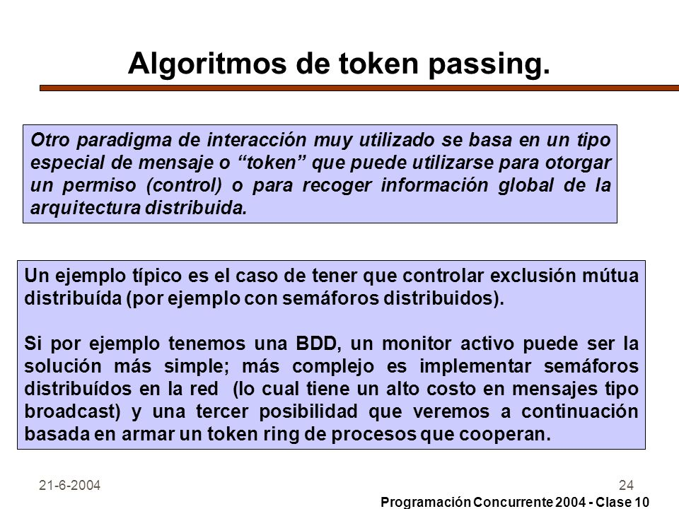 21-6-200424 Algoritmos de token passing. Otro paradigma de interacción muy utilizado se basa en un tipo especial de mensaje o token que puede utilizar