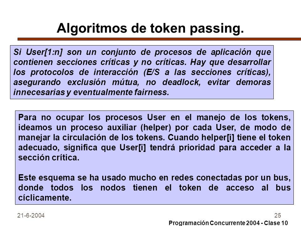 21-6-200425 Algoritmos de token passing. Si User[1:n] son un conjunto de procesos de aplicación que contienen secciones críticas y no críticas. Hay qu