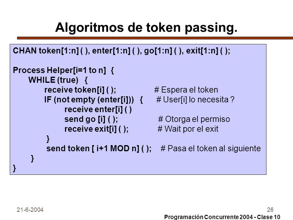 21-6-200426 Algoritmos de token passing. CHAN token[1:n] ( ), enter[1:n] ( ), go[1:n] ( ), exit[1:n] ( ); Process Helper[i=1 to n] { WHILE (true) { re