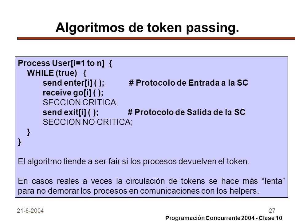 21-6-200427 Algoritmos de token passing. Process User[i=1 to n] { WHILE (true) { send enter[i] ( ); # Protocolo de Entrada a la SC receive go[i] ( );