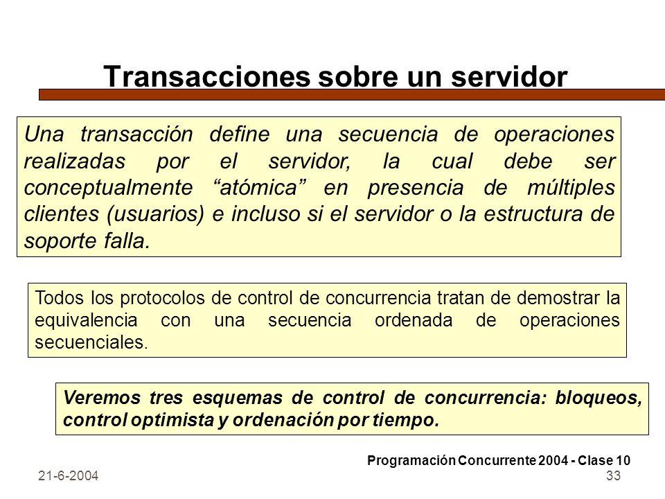 21-6-200433 Transacciones sobre un servidor Una transacción define una secuencia de operaciones realizadas por el servidor, la cual debe ser conceptua