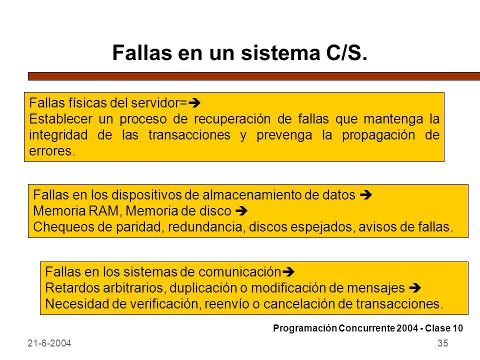 21-6-200435 Fallas en un sistema C/S. Fallas físicas del servidor= Establecer un proceso de recuperación de fallas que mantenga la integridad de las t