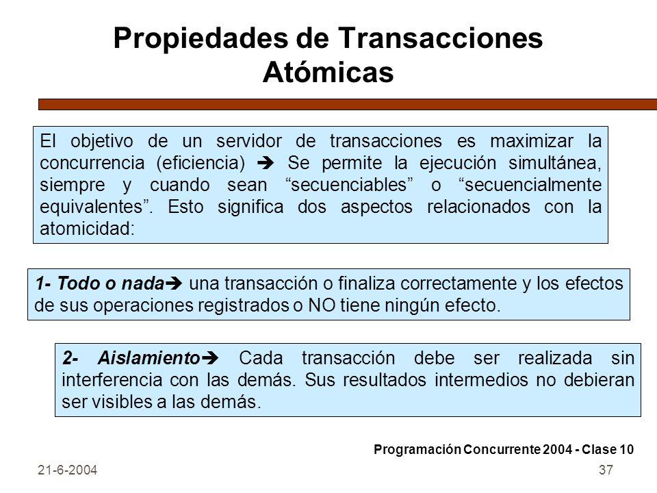 21-6-200437 Propiedades de Transacciones Atómicas El objetivo de un servidor de transacciones es maximizar la concurrencia (eficiencia) Se permite la