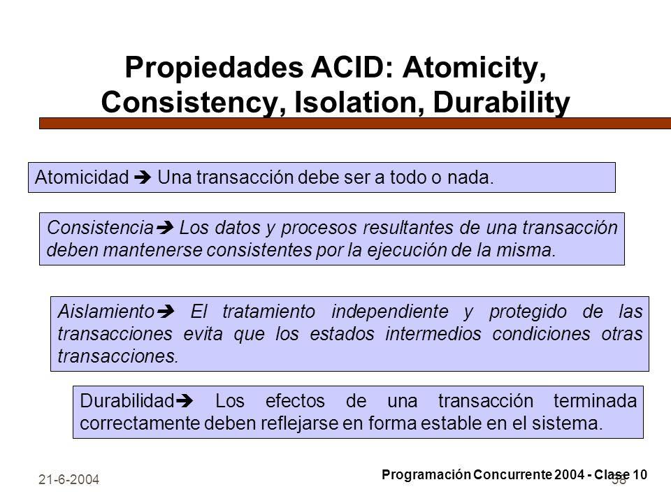 21-6-200438 Propiedades ACID: Atomicity, Consistency, Isolation, Durability Atomicidad Una transacción debe ser a todo o nada. Consistencia Los datos