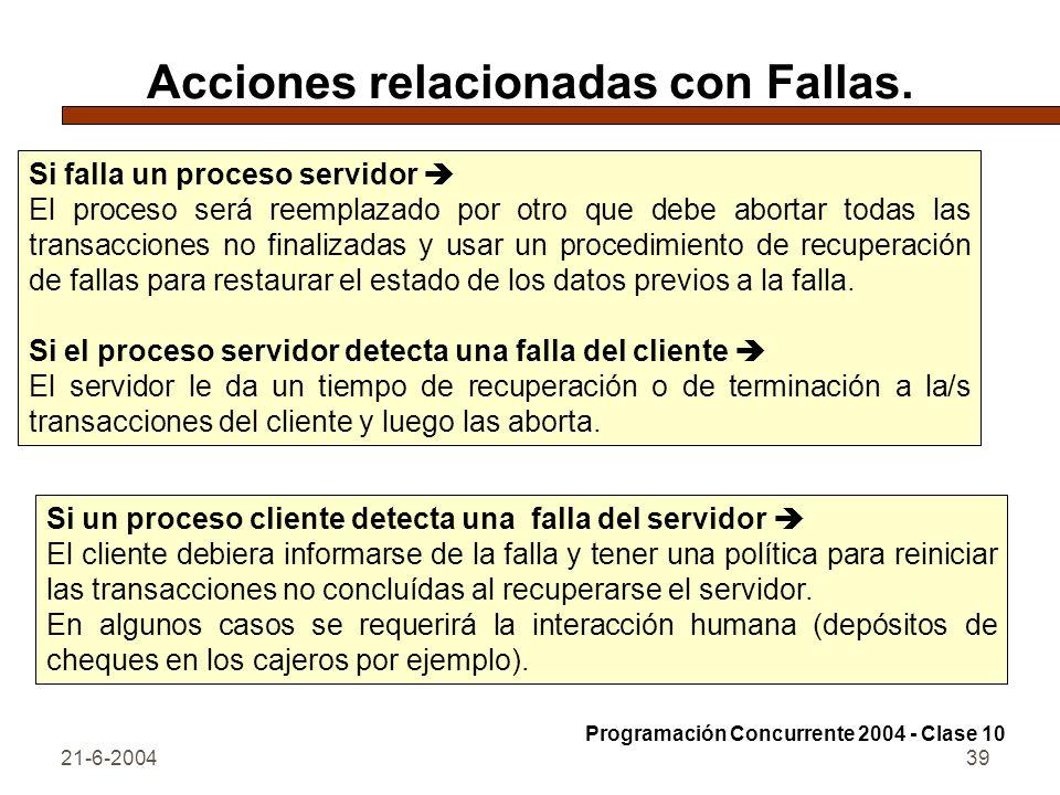 21-6-200439 Acciones relacionadas con Fallas. Si falla un proceso servidor El proceso será reemplazado por otro que debe abortar todas las transaccion
