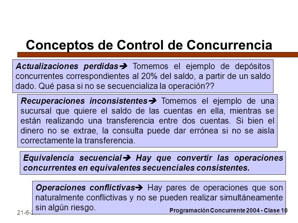 21-6-200440 Conceptos de Control de Concurrencia Actualizaciones perdidas Tomemos el ejemplo de depósitos concurrentes correspondientes al 20% del sal