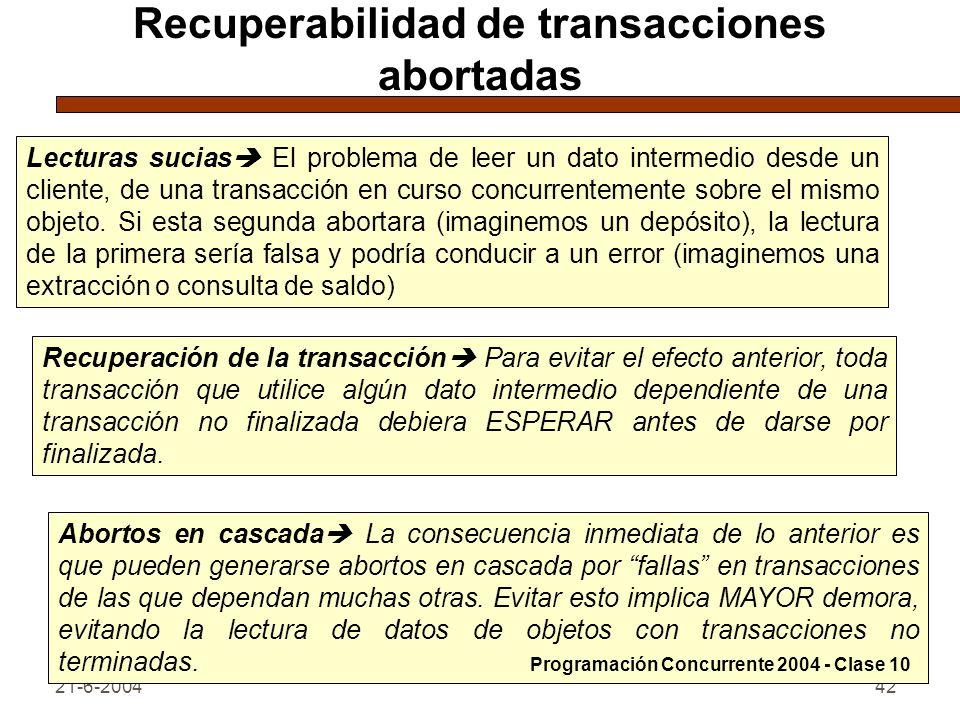 21-6-200442 Recuperabilidad de transacciones abortadas Lecturas sucias El problema de leer un dato intermedio desde un cliente, de una transacción en