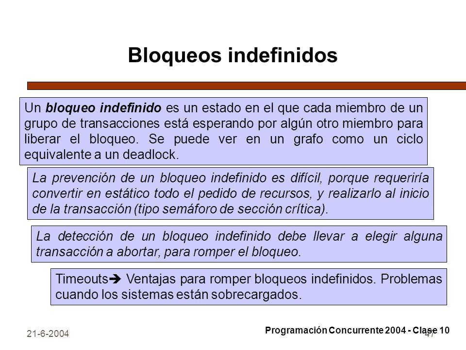 21-6-200447 Bloqueos indefinidos Un bloqueo indefinido es un estado en el que cada miembro de un grupo de transacciones está esperando por algún otro
