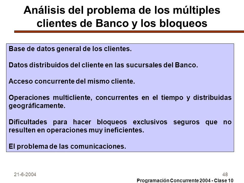 21-6-200448 Análisis del problema de los múltiples clientes de Banco y los bloqueos Base de datos general de los clientes. Datos distribuidos del clie