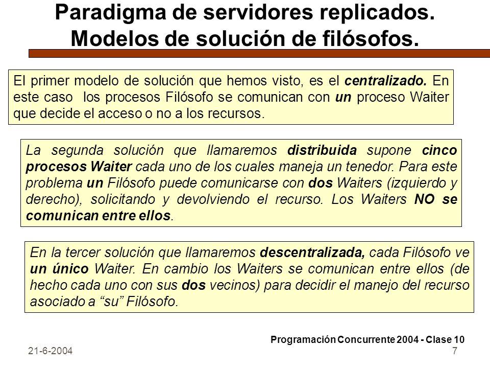 21-6-20047 Paradigma de servidores replicados. Modelos de solución de filósofos. El primer modelo de solución que hemos visto, es el centralizado. En