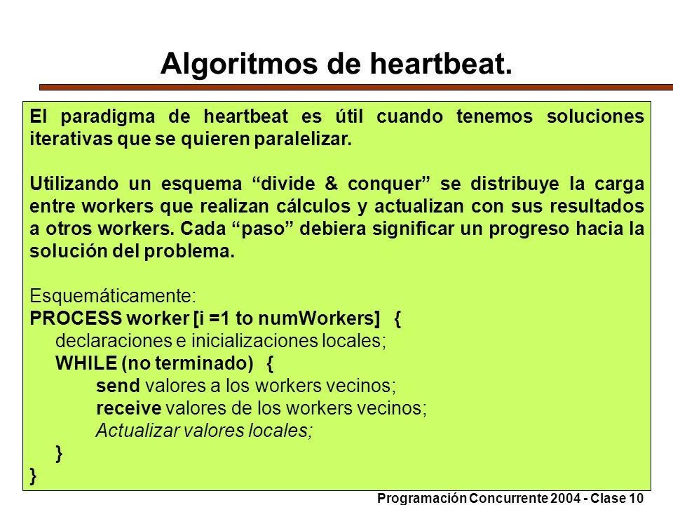 21-6-20048 Algoritmos de heartbeat. El paradigma de heartbeat es útil cuando tenemos soluciones iterativas que se quieren paralelizar. Utilizando un e