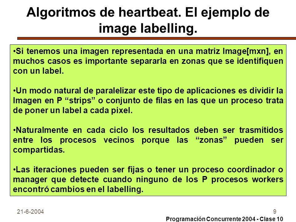 21-6-20049 Algoritmos de heartbeat. El ejemplo de image labelling. Si tenemos una imagen representada en una matriz Image[mxn], en muchos casos es imp