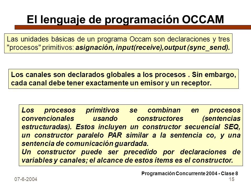 07-6-200415 El lenguaje de programación OCCAM Las unidades básicas de un programa Occam son declaraciones y tres