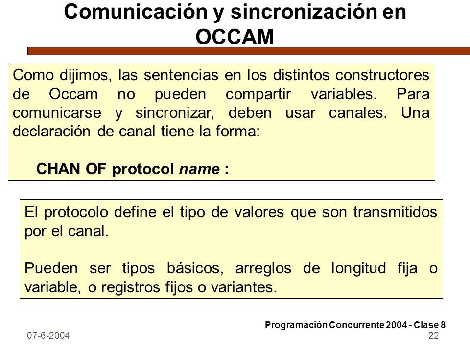 07-6-200422 Comunicación y sincronización en OCCAM Como dijimos, las sentencias en los distintos constructores de Occam no pueden compartir variables.
