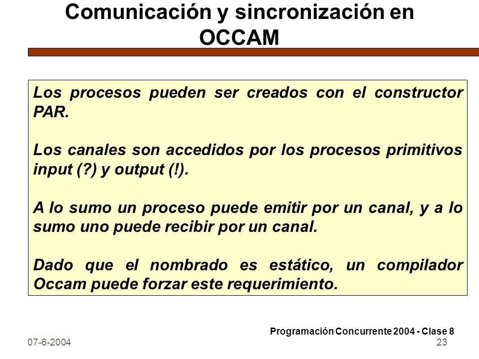 07-6-200423 Comunicación y sincronización en OCCAM Los procesos pueden ser creados con el constructor PAR. Los canales son accedidos por los procesos