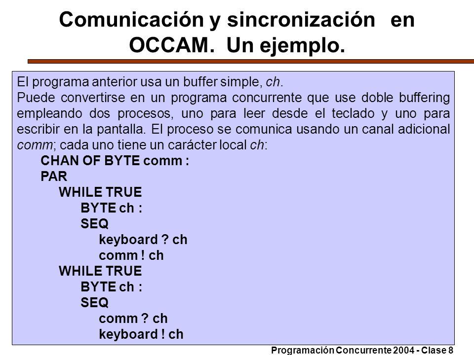 07-6-200425 Comunicación y sincronización en OCCAM. Un ejemplo. El programa anterior usa un buffer simple, ch. Puede convertirse en un programa concur