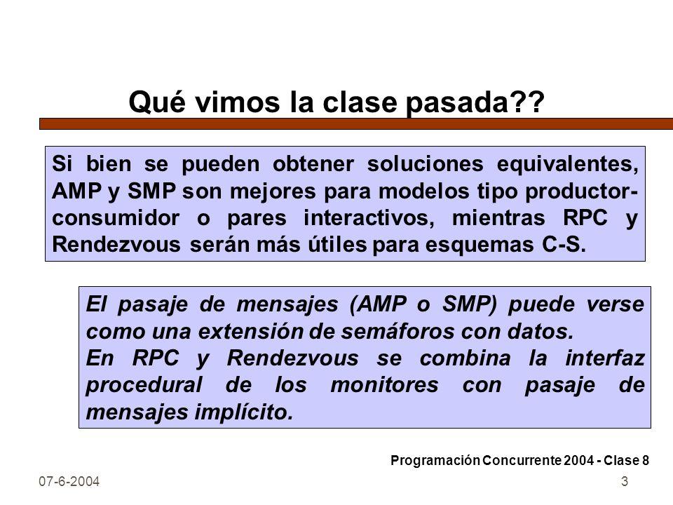 07-6-20043 Qué vimos la clase pasada?? El pasaje de mensajes (AMP o SMP) puede verse como una extensión de semáforos con datos. En RPC y Rendezvous se