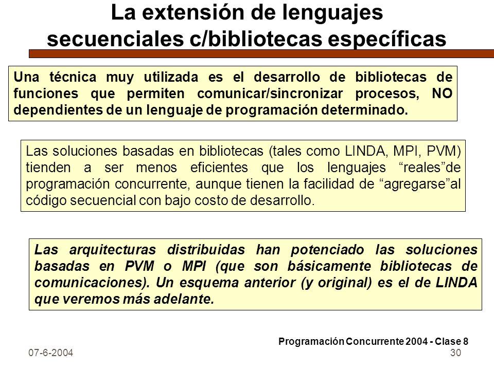 07-6-200430 La extensión de lenguajes secuenciales c/bibliotecas específicas Una técnica muy utilizada es el desarrollo de bibliotecas de funciones qu