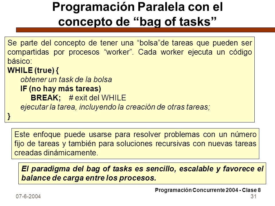07-6-200431 Programación Paralela con el concepto de bag of tasks Se parte del concepto de tener una bolsade tareas que pueden ser compartidas por pro