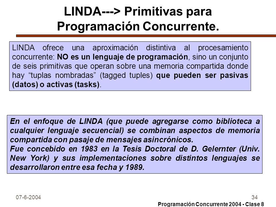 07-6-200434 LINDA---> Primitivas para Programación Concurrente. LINDA ofrece una aproximación distintiva al procesamiento concurrente: NO es un lengua