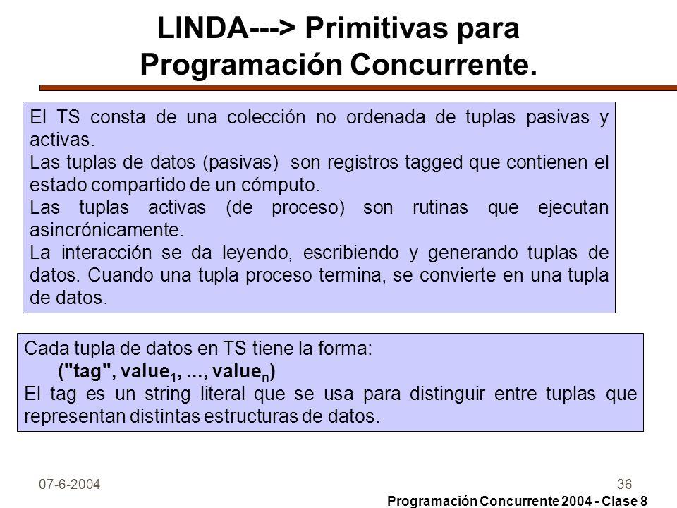 07-6-200436 LINDA---> Primitivas para Programación Concurrente. El TS consta de una colección no ordenada de tuplas pasivas y activas. Las tuplas de d