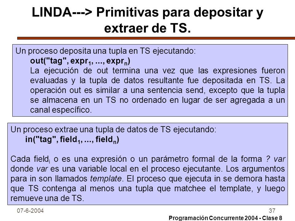 07-6-200437 LINDA---> Primitivas para depositar y extraer de TS. Un proceso deposita una tupla en TS ejecutando: out(