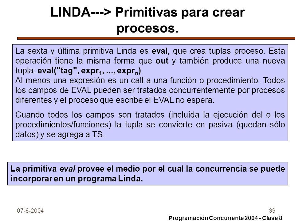 07-6-200439 LINDA---> Primitivas para crear procesos. La sexta y última primitiva Linda es eval, que crea tuplas proceso. Esta operación tiene la mism