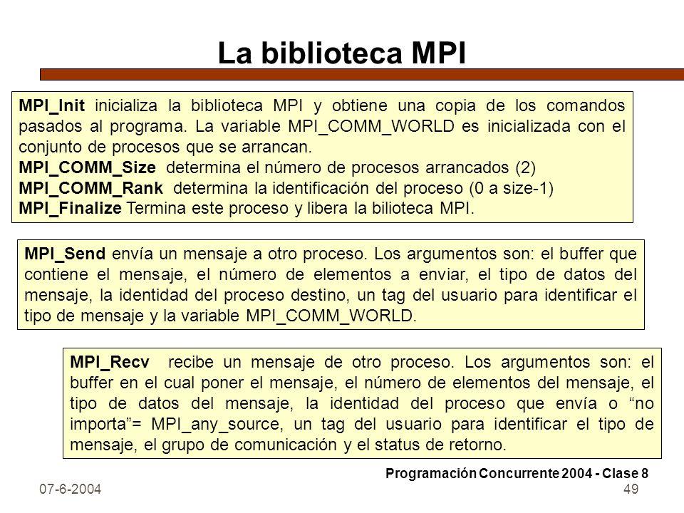 07-6-200449 La biblioteca MPI MPI_Init inicializa la biblioteca MPI y obtiene una copia de los comandos pasados al programa. La variable MPI_COMM_WORL