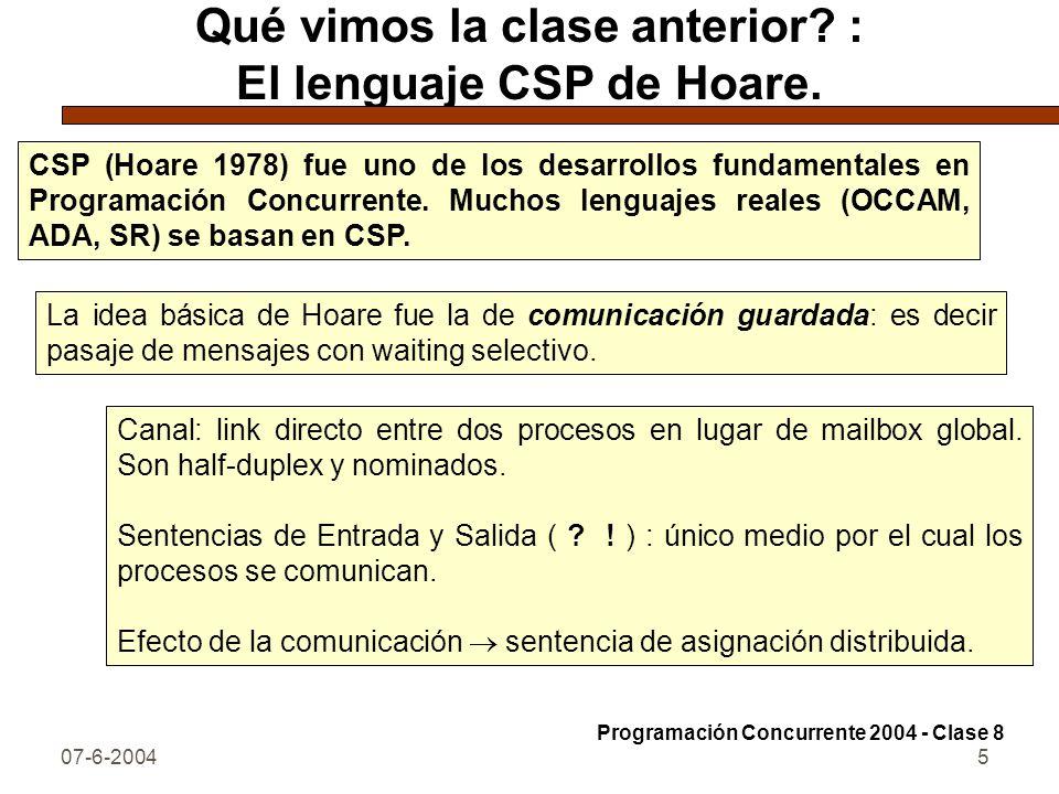 07-6-20045 Qué vimos la clase anterior? : El lenguaje CSP de Hoare. CSP (Hoare 1978) fue uno de los desarrollos fundamentales en Programación Concurre