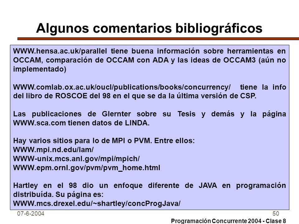 07-6-200450 Algunos comentarios bibliográficos WWW.hensa.ac.uk/parallel tiene buena información sobre herramientas en OCCAM, comparación de OCCAM con