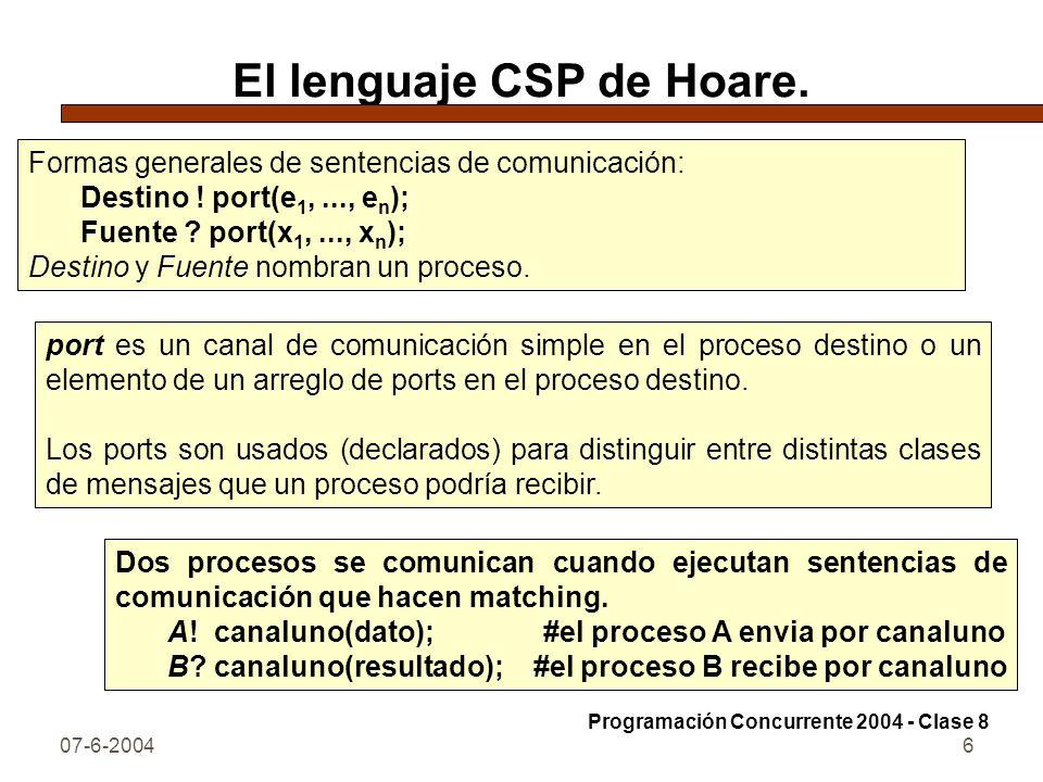 07-6-20046 El lenguaje CSP de Hoare. Formas generales de sentencias de comunicación: Destino ! port(e 1,..., e n ); Fuente ? port(x 1,..., x n ); Dest