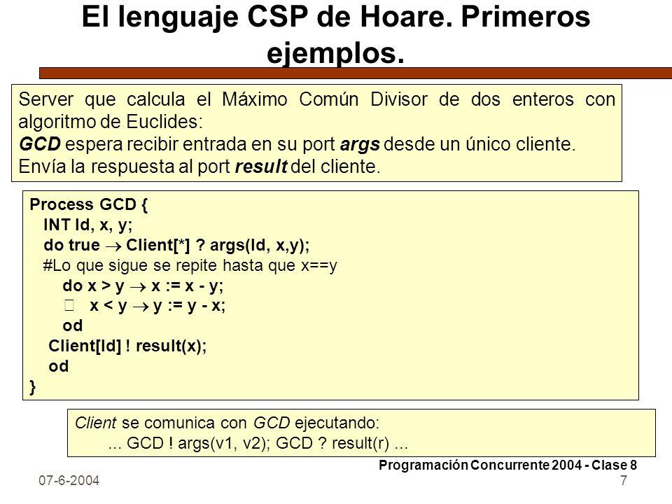 07-6-20047 El lenguaje CSP de Hoare. Primeros ejemplos. Server que calcula el Máximo Común Divisor de dos enteros con algoritmo de Euclides: GCD esper
