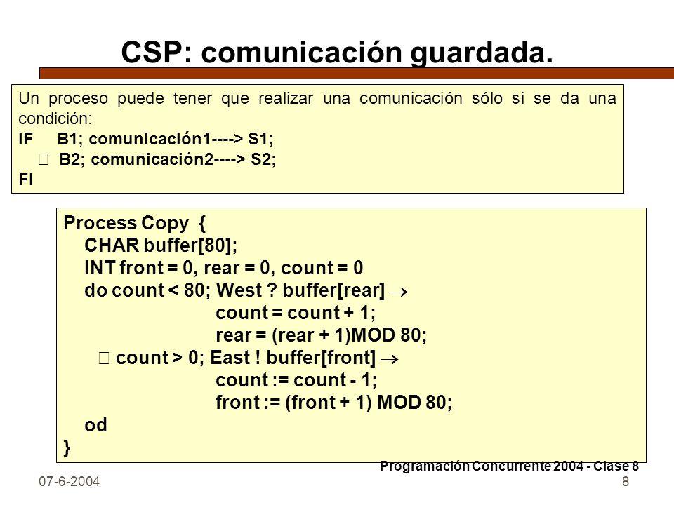 07-6-20048 CSP: comunicación guardada. Un proceso puede tener que realizar una comunicación sólo si se da una condición: IF B1; comunicación1----> S1;