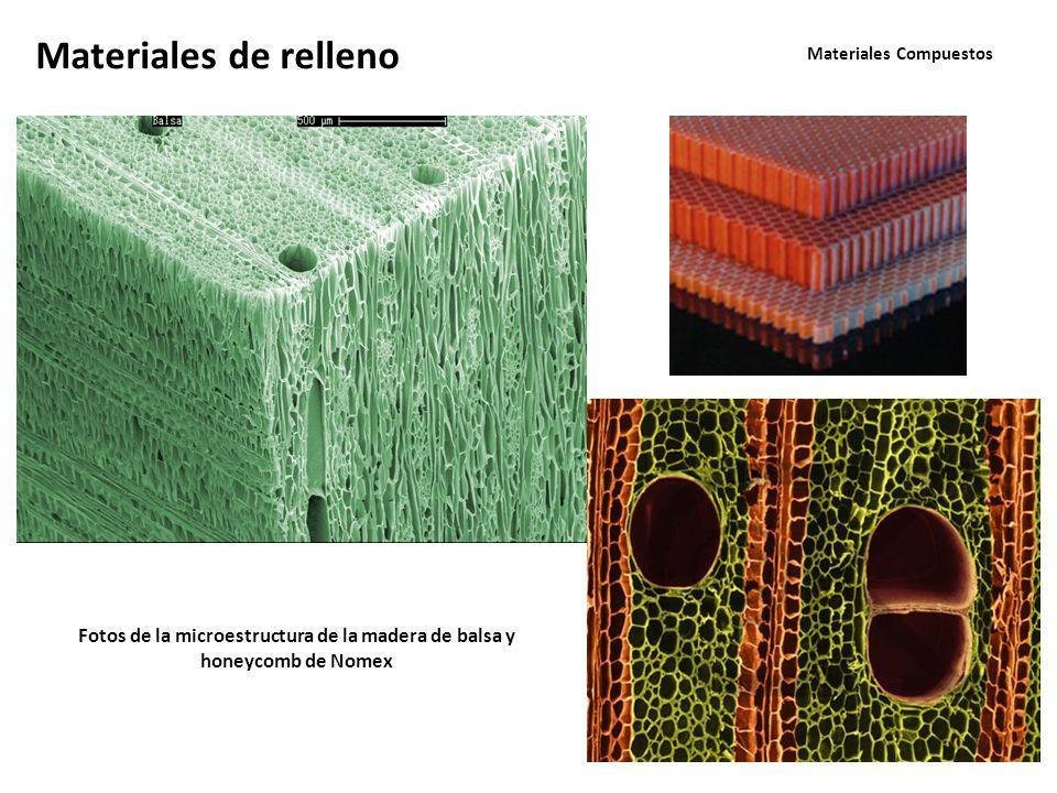 Materiales Compuestos Materiales de relleno Fotos de la microestructura de la madera de balsa y honeycomb de Nomex